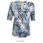 Shirt mit Stehkragen und V-Ausschnitt